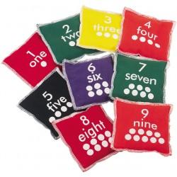 Ærteposer med tal-sæt 0-9